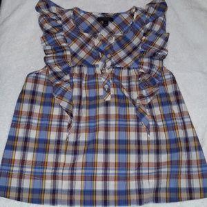 J Crew square neck plaid sleeveless top size 6